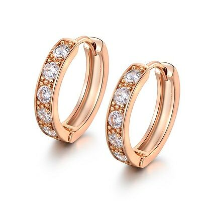 Shinning 18k Yellow Gold Filled White Sapphire Crystal Fashion Hoop Earrings
