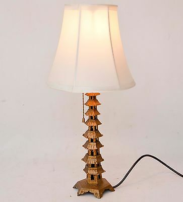 CHINESE VINTAGE Large Pagoda Lamp Hollywood Regency BRASS