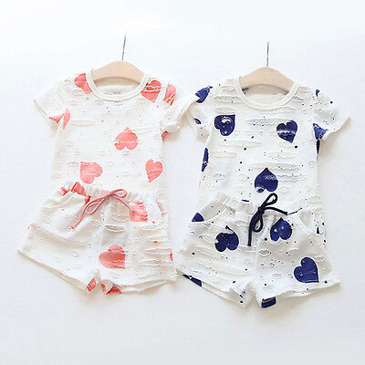 Kids Toddler Baby Girl T-Shirt Tops Tee+Shorts Pants Outfits Clothes 2PCS Set US