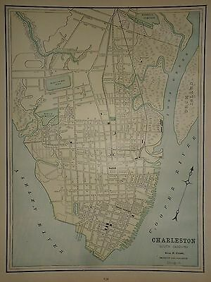 Vintage 1891 Charleston, South Carolina Map Old Antique Original Map 91/051317