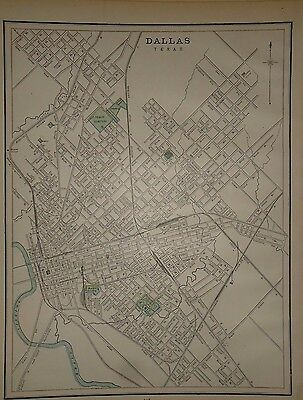Vintage 1891 Dallas, Texas Map Old Antique Original Atlas Map 91/051317