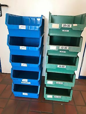Storage Crate Green Blue sichtlagerkiste Boxes 490 200 320 Euro Containers