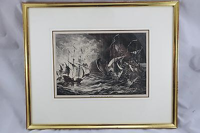 English Fire-Ships sent into the Armada Holzstich England 19.Jh.