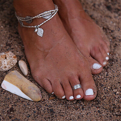 Women's Celebrity Punk Fashion Silver Toe Ring Mini Rings Adjustable Foot Beach