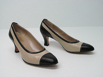 Salvatore Ferragamo Beige/black Leather Pumps Heels Size Womens 6.5 B