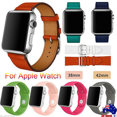 Genuine Leather Silicone Band Strap Watchband for Apple Watch Series 1/2 38/42mm