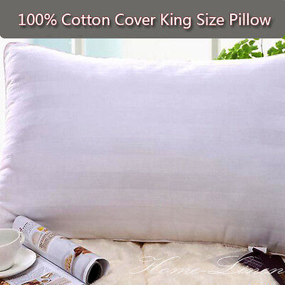 2 PACK KING SIZE Polyester Filling Pillows 50x90cm 100% Pure Cotton Covered