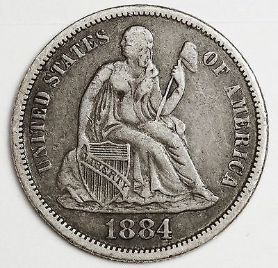 1884 Liberty Seated Dime.  Love Token.  V.F.-X.F.  105890