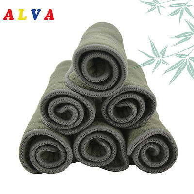 6 pcs Alva Abro Reusable 5 Layer Bamboo Charcoal  Inserts For Diapers