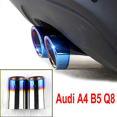 2× Stainless Steel Chrome Exhaust pipes Tail Rear Muffler Tip Pipe Audi A4 B8 Q5