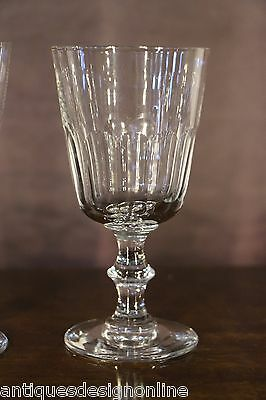 5x Large antique crystal toasting WINE GOBLETS cut glass Rummer Georgian 1800's