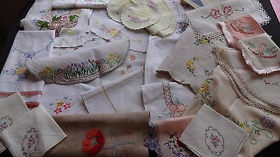 Vintage Hand Embroidered Linens - Joblot  X 26