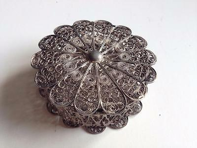 Antique Ottoman Jannina  Epirus  Folk Art Silver  Filigree Jewelery Round  Box