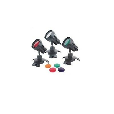 Underwater Submersible Pond Garden LED Light Set Of 3 With Colour Lenses