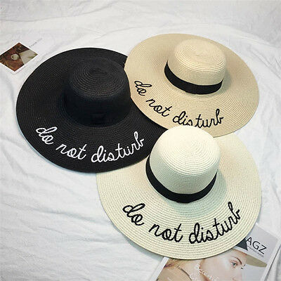 Women Sun Hat Wide Brim Straw Hats Outdoor Foldable Beach Hats Letter Embroidery