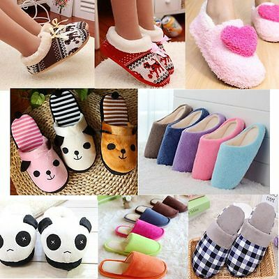 Winter Women Men Fleece Cotton Warm Soft Plush Indoor Panda  Home Slippers Shoes