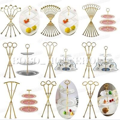 1/5set 2 3 Tier Cake Plate Stand Heavy Metal Center Handle Fitting Hardware Rod