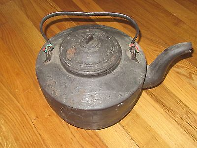 ANTIQUE VINTAGE Black Cast Iron Kettle Humidifier Pot w lid for Woodstove
