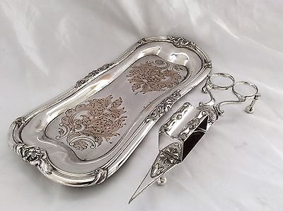 Fine Antique Victorian Silver On Copper CandleSnuffer & Tray Harwood & Son C1890