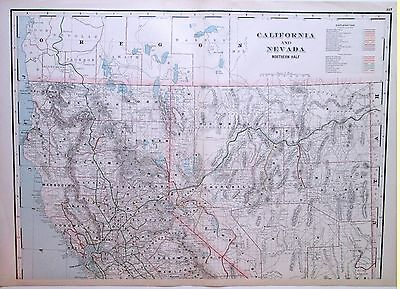 1894 Northern CALIFORNIA & NEVADA San Fran SONOMA * LARGE DETAILED RailRoad MAP