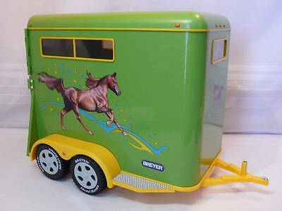 """2002 BREYER Traditional Yellow Dual Axle 14"""" TRAILER 2 Horse Carrier"""