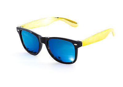 Wayfare Sunglasses With Gold Arms & Blue Mirror Lens Designer Style New