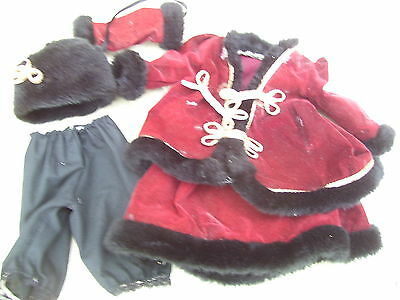Alte Puppenkleidung Winter Dress Hat Outfit vintage Doll clothes 50 cm Girl