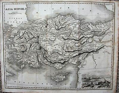 ORIGINAL 1840 MAP of ASIA MINOR -TURKEY IN GOOD CONDITION -10 1/2 x 8 1/2  ins