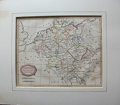 ORIGINAL 1807 MAP of GERMANY IN GOOD CONDITION MOUNTED - 8 3/4 x 7 1/4 inches