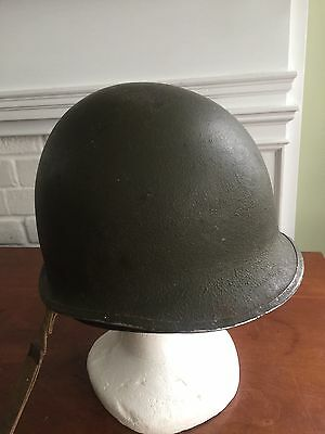 US ORIGINAL Military WWII WW2 Front Seam Fixed Bale Helmet WITH LINER & STRAP
