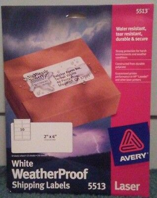 "Avery WeatherProof Polyester Shipping Labels Laser 2"" x 4"" 250 per pack 5513 Man"