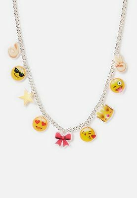 "Justice Girl's EMOJI Smileys Charm Necklace 16"" Long NWT"