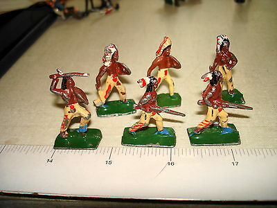 Vintage Small 30mm Lead Toy Figure 6 AMERICAN INDIAN Lot