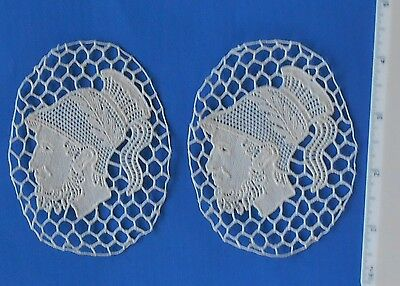 Two 2  Vintage LACE  Antique IMPORT  Cotton Lace Medallions Roman Man's Head 4""