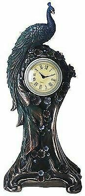 Antique Bronze Finish Peacock Embellished Clock with Flower Detail
