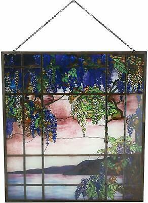 Louis Comfort Tiffany Window View of Oyster Bay Stained Glass Art Panel Decor