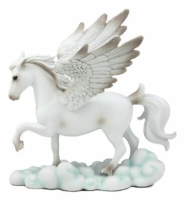 White Tone Pegasus Horse with Wings Standing on Clouds Statue Display