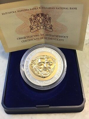 10 Levs 2005 Teres Gold Mask Treasures of Bulgaria series bi-color .999 Silver