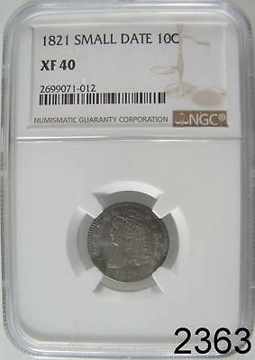 1821 Small Date Capped Bust Dime Ngc Certified Xf 40 Very Original Patina #2363