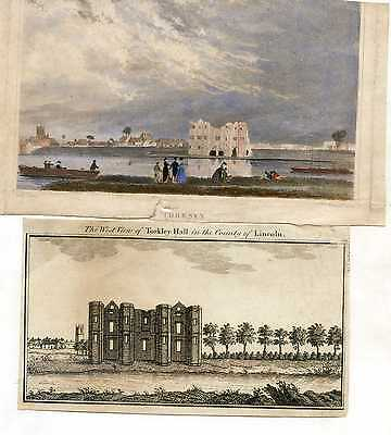 Two Antique Engravings Of The Ruins Of Torksey Castle Lincolnshire