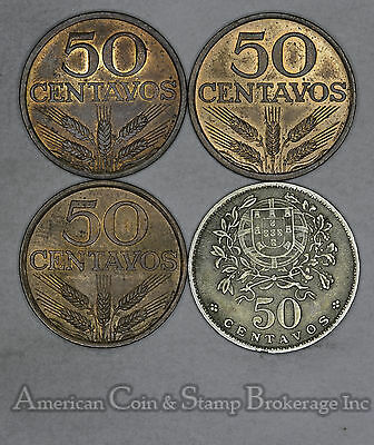 Portugal 50 Centavos 1962 1973 1977 1979 4 Coin Lot Nice Mix