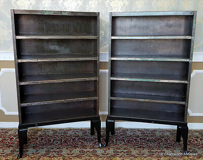 Pair 1930s Refurbished Industrial Medical Steel Bookcase Cabinets on Bases