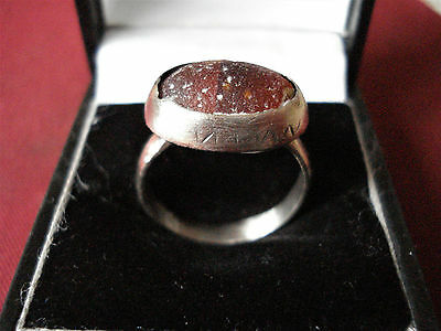Roman / Byzantine Silver Ring With Orange Glass--Detector Find
