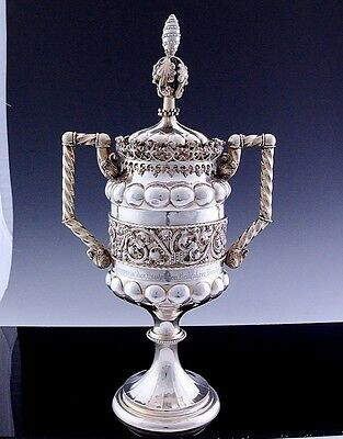 IMPRESSIVE LARGE c1913 GERMAN SOLID SILVER HANDLED TROPHY DRINKING CUP STEIN