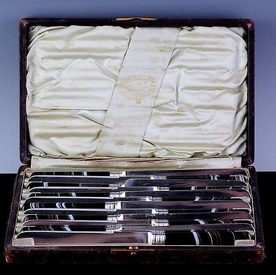 VRARE 12pc c1860 VICTORIAN SILVER PLATE & SCOTTISH BANDED AGATE DINNER KNIFE SET