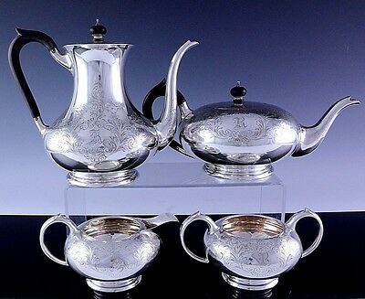 TOP QUALITY c1910 BIRKS STERLING SILVER DEEPLY ETCHED TEA & COFFEE SERVICE SET