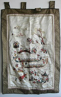 Fine Old Chinese Embroidered Silk Dragon Boats & Figures Tapestry Wall Hanging