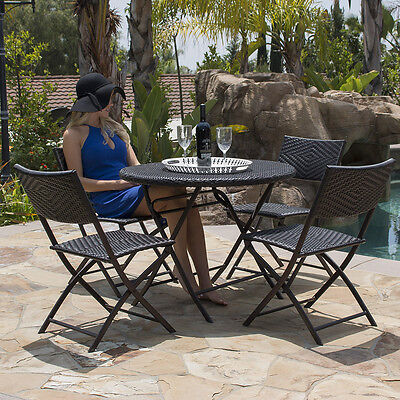 5PC Folding Table & Chair Bistro Set Dining Rattan Wicker Outdoor Furniture Seat