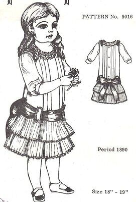 Period DOLL DRESS PATTERN Victorian German French ANTIQUE / vintage look #5016