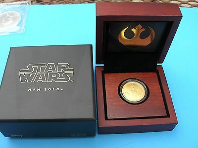 Stunning 2016 Niue 1/4 oz Gold $25 Star Wars Han Solo Proof in Box with COA